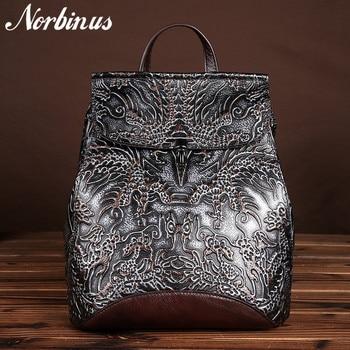 Norbinus Genuine Embossed Leather Women Backpacks Vintage National Style Daypack School Bags for Teenager Girls Travel Rucksack