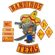 Bandidos Patch Biker Texa Motorcycle Embroidered Patches Full set Large for Back Jacket Vest Custom Bottom Rocker Badge Rider цена и фото