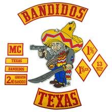 Bandidos Patch Biker Texa Motorcycle Embroidered Patches Full set Large for Back Jacket Vest Custom Bottom Rocker Badge Rider