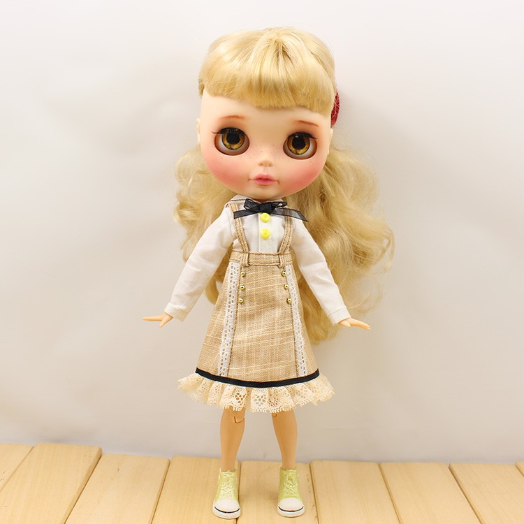 Neo Blythe Doll Strap Overalls Shirt With Bow 2