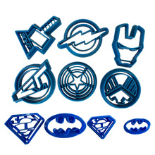 10pcs/set Cartoon Baking Tools Super hero Cookie Cutter Food grade Plastic Biscuit Cutter Cookie Stamp Cookies Cute high grade plastic cutter