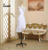 Spaghetti Straps Ruched White Chiffon Beading ASYM Short Bridesmaid Dresses Wedding Party Dresses