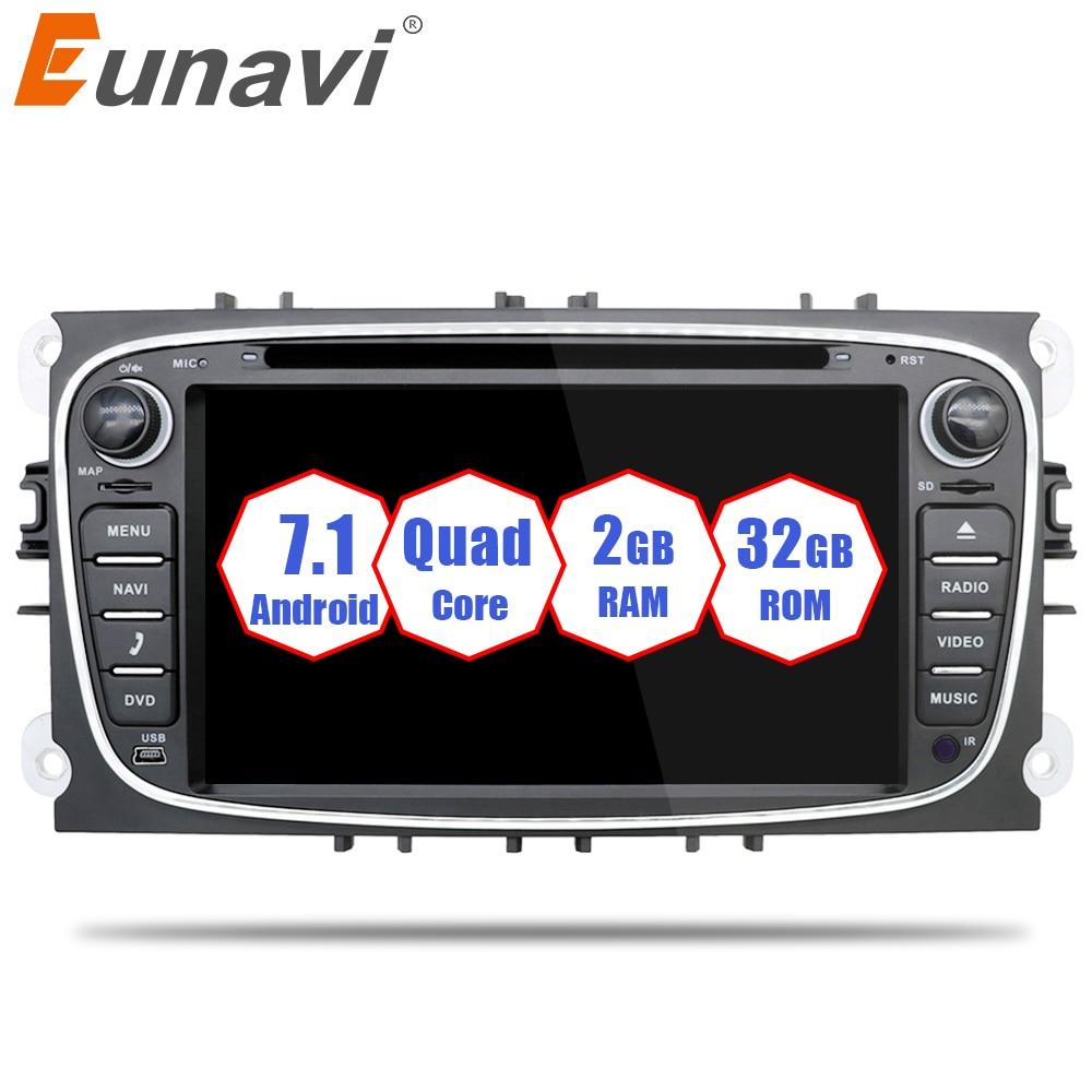 Eunavi 2 din 7 inch Android 7.1 8.1 Quad Core Car DVD GPS Player Navi for Ford Focus Mondeo Galaxy Audio Radio Stereo Head Unit seicane 2 din 10 1 android 7 1 android 6 0 quad core car radio gps navi stereo unit player for 2014 2015 hyundai ix25 creta