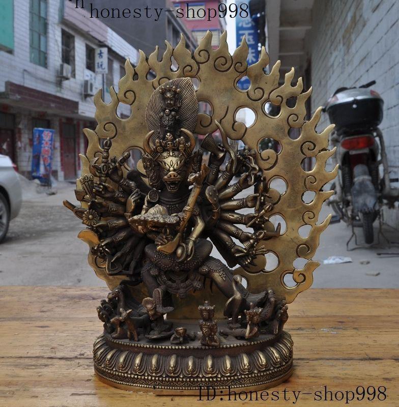 Christmas 12Tibet Buddhism Joss Brass 1000 Arms Yamantaka Hayagriva Hevajra Buddha Statue Halloween