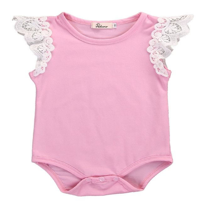 b1aae42ad Cotton Newborn Baby Girls Kids Toddler Lace Flower Shoulder ...