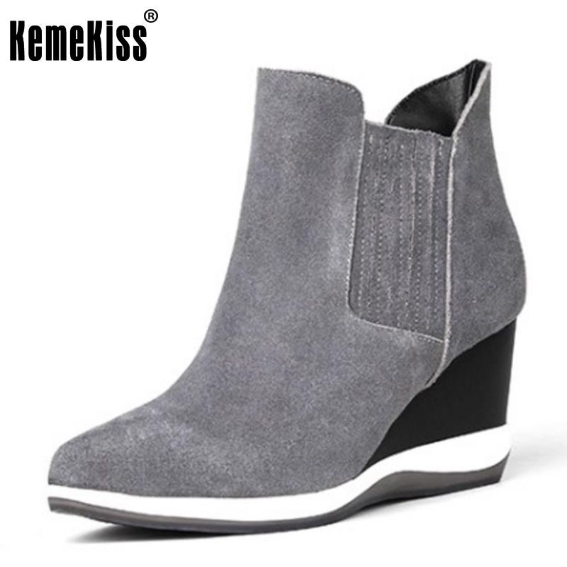 KemeKiss Ladies Genuine Leather High Heel Ankle Boots Woemn Wedges Slip On Pointed Toe Shoes Leisure Autumn Footwear Size 34-39 esveva 2016 sequined platform women boots autumn fashion boots wedges high heel leisure round toe ladies ankle boot size 34 39