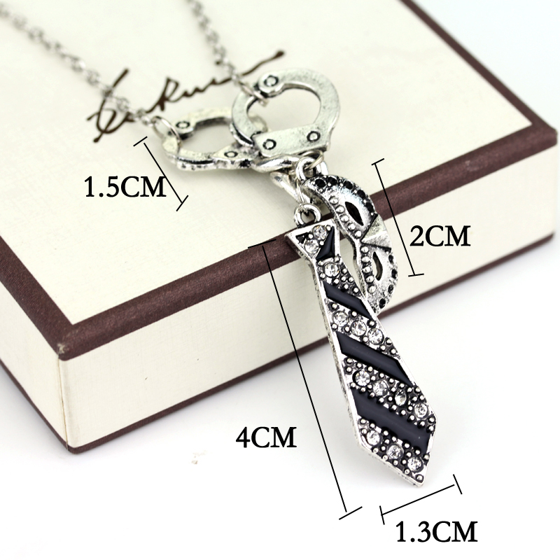 Free Shipping Fifty Shades of Grey Darker Freed Christian Charm Necklace Handcuffs Masquerade Mask Necktie Pendant Necklace