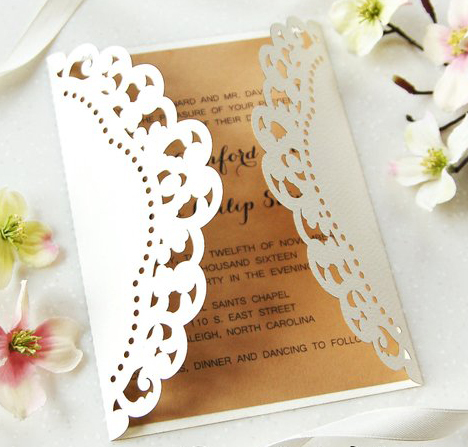 50pcs Personalized Laser Cut Elegant Wedding Invitation Modern
