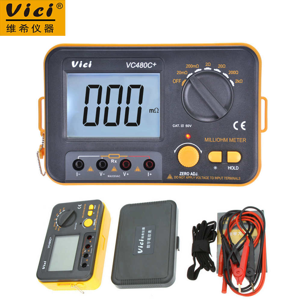 Vici VICHY VC480C+ 3 1/2 Digital Ohm Meter Milli-ohm Meter Resistance Tester 4 wire Test w/LCD Backlight big discount brand new sm8124 internal battery resistance impedance meter tester battery resistance voltmeter free shipping