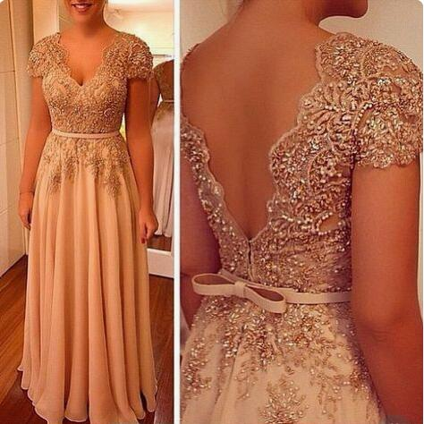 Simple Cheap Prom Dress Long Appliqued Lace Short Sleeve V-neck Elegant Chiffon Evening Dresses