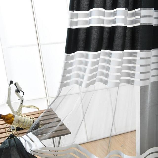 Sheer Tende Della Finestra Per Soggiorno Moderno Nero A Strisce Tende di Voile Tulle Tessuti Tessuti Per La Casa Curtina Rideaux X231 #30