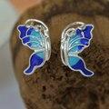 Оригинальные стерлингового серебра 925 бабочка эмаль серьги стержня для женщин серьги ювелирные изделия brincos pendientes де прата