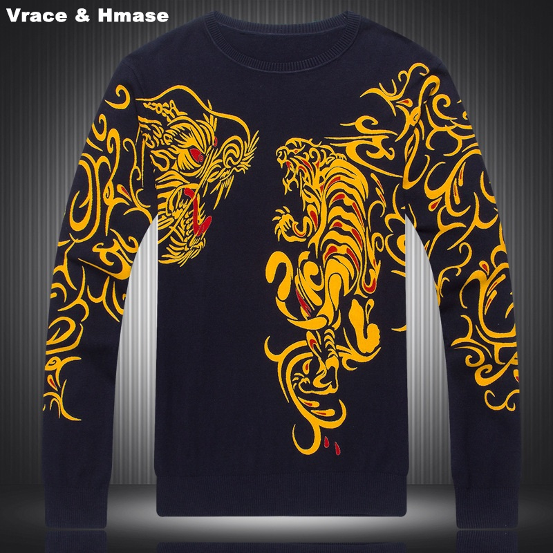 Chinese Style Personality Exquisite Dragon Tiger Pattern Printing Sweater 2016 Autumn&Winter Fashion Knitted Sweater Men M-XXXL