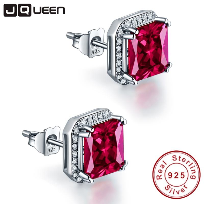JQUEEN 3Ct Ruby Red Pendientes Princess Cut 925 pendientes de plata - Joyas