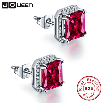 f69cc71621c7 Jqueen 3ct rubí rojo Pendientes princesa corte 925 plata esterlina  Pendientes bijoux boda Pendientes vintage Stud Pendientes