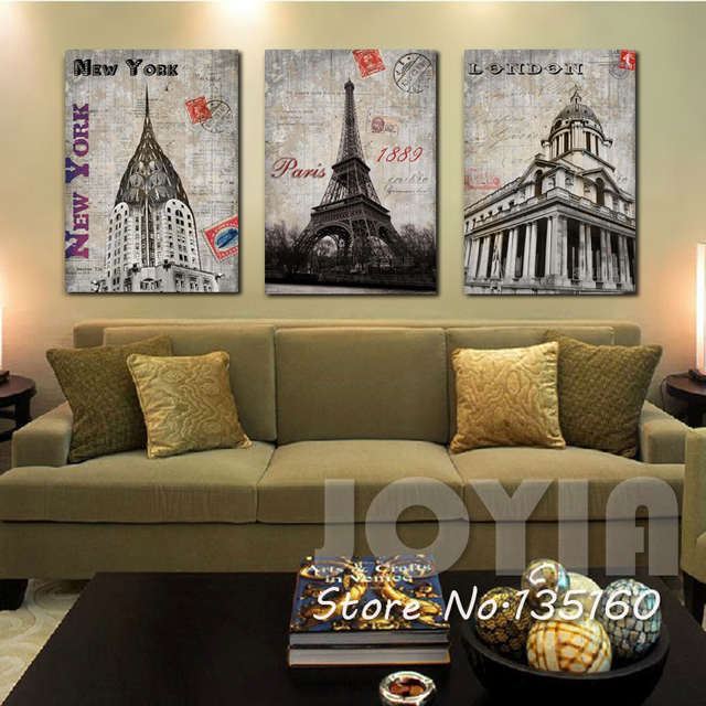 Home Decor Classical Wall Canvas Painting London Paris New York Historical Building Art Picture For Room