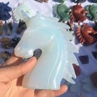 4 inch Opal figurine polished Fluorite stone unicorn statue