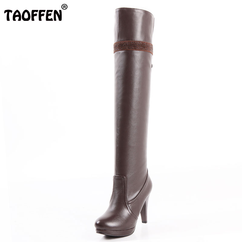 TAOFFEN Size 32-48 Women High Heel Over Knee Boots Ladies Riding Long Snow Boot Warm Winter Botas Heels Footwear Shoes P1887 купить дешево онлайн