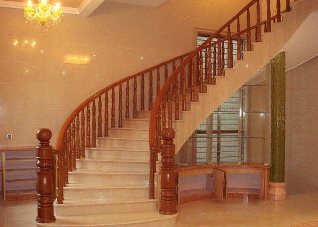 Charmant Stairway Staircase Indoor Wood Handle Marble Step Staircase