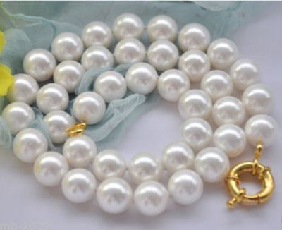 AAA Beautiful! 12mm Natural Round White South Sea Shell Pearl Necklace 18>Selling jewerly free shipping