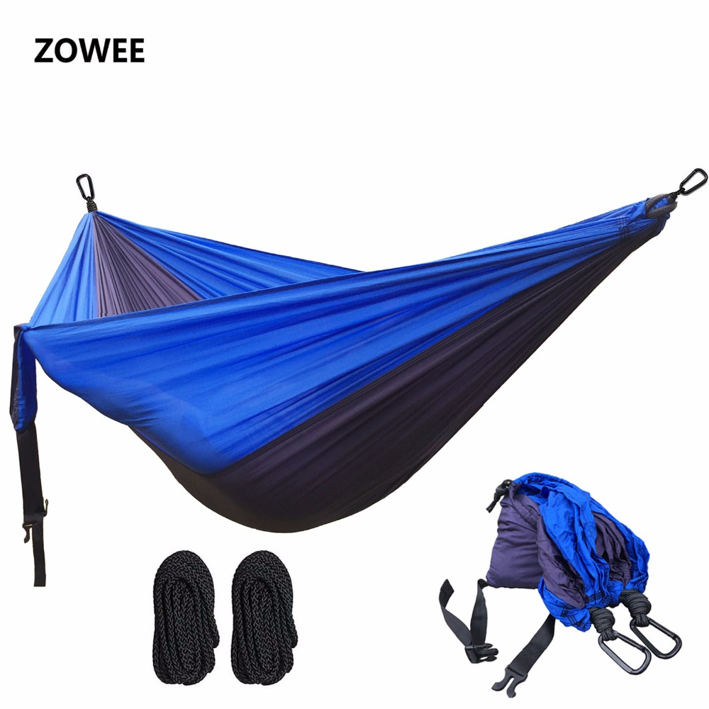 2 people Hammock 2018 Camping Survival Garden Hunting Leisure Travel Double Person Portable Parachute Hammocks with Two carabine portable parachute double hammock garden outdoor camping travel furniture survival hammocks swing sleeping bed for 2 person