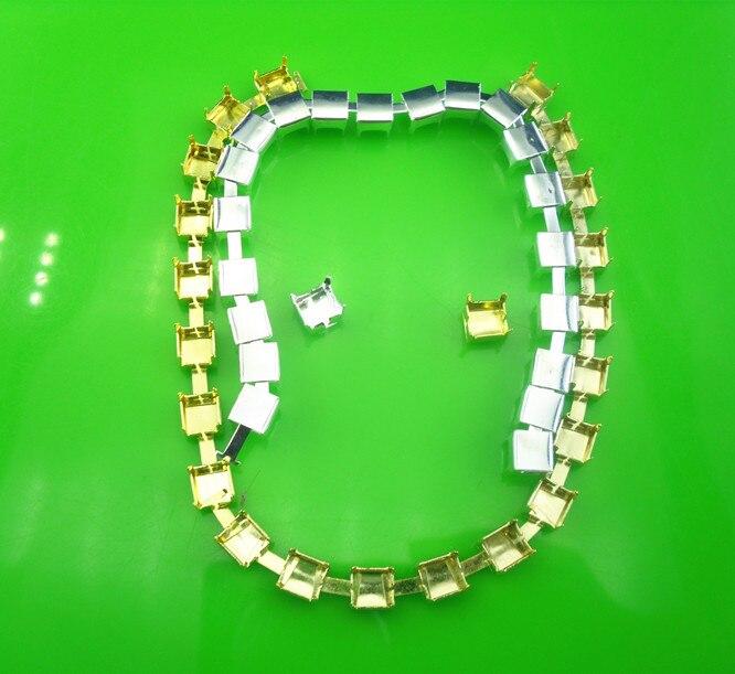 SS30 Fashion kostuum applique silver & gold lege metal cup claw versieringen chain voor 6mm strass bruiloft decoratie 100 yards-in Bergkristallen van Huis & Tuin op  Groep 2