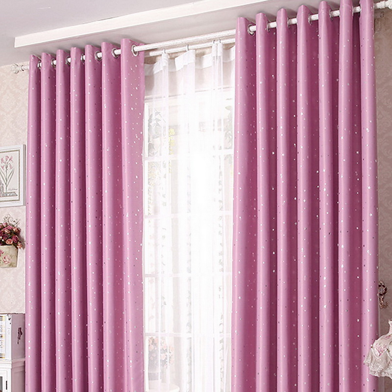 Finished Curtains Blackout Cortinas Bedroom Printing Living-Room Stars Girl Shiny Kids