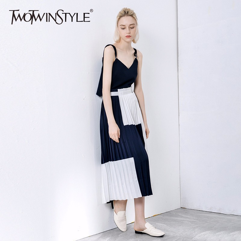 TWOTWINSTYLE Patwork Pleated Sexy Spaghetti Strap Dress Female Sleeveless Side Split Lace up Midi Dresses Women 2018 Summer New