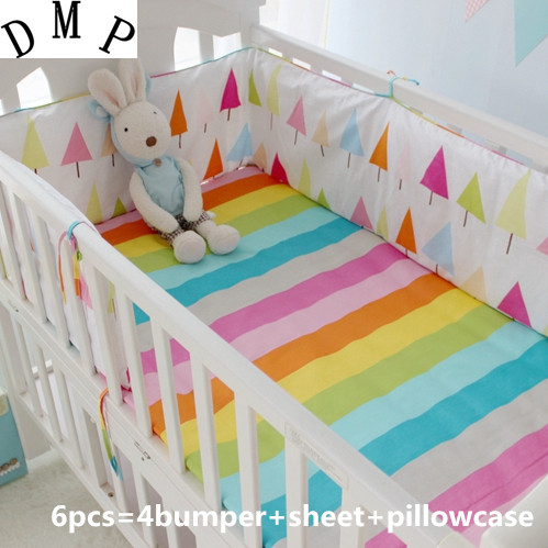 2017! 6PCS Cotton Cot Baby Bedding Set Baby Bedclothes Cot Bed Sheet Cartoon Crib Bedding Set (bumpers+sheet+pillow Cover)