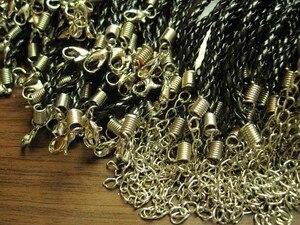 Image 3 - Sprzedaż hurtowa 100 sztuk czarne pu leather splot naszyjniki łańcuchy biżuteria akcesoria