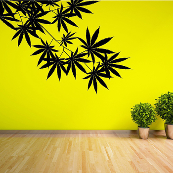 N228 WEED tree leaf Maple Hemp leaves Vinyl plant Wall stickers for Kids Rooms Wall Art Decals Mural for living room Home decor