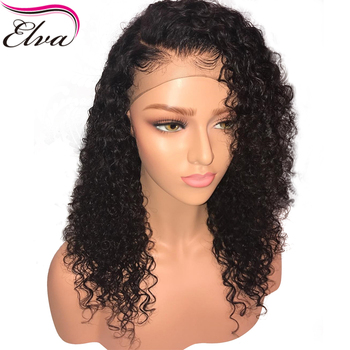 Short Lace Front Human Hair Wigs For Black Women Brazilian Remy Hair Curly Lace Front Wig Bleached Knots Pre Plucked Elva Hair