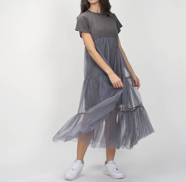 placeholder  CHICEVER  Summer Korean Plus Size Splicing Pleated Mesh T  shirt Dress Women Black Gray 8d9ff3b9e71c