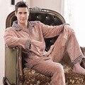 Мужской утолщение ватки пижамы осень и зима фланель мужской twinset с длинными рукавами Большой размер гостиная