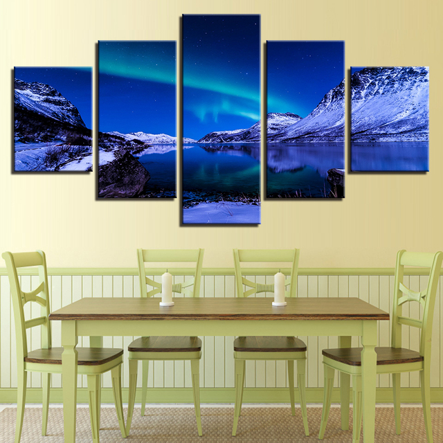 HD Printed Picture Canvas Wall Art Living Room 5 Pieces Aurora ...
