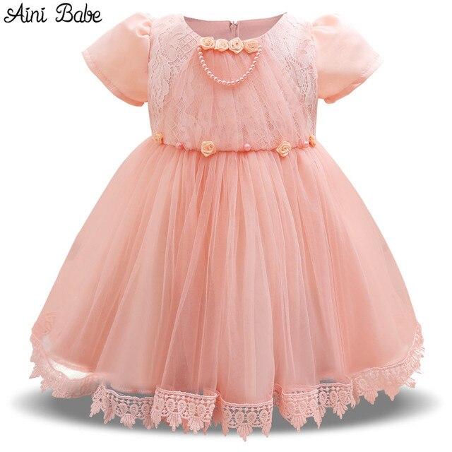 4e57175b3 Aini Bebé Bebé Recién Nacido Niña de 1 Años Vestido de Fiesta de Cumpleaños  verano Del