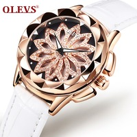 OLEVS 5873 Luxury hollow out Dial Watch Women Luminous Hands Golden Quartz watches Leather Wristwatch Ladies Clock Reloj Mujer