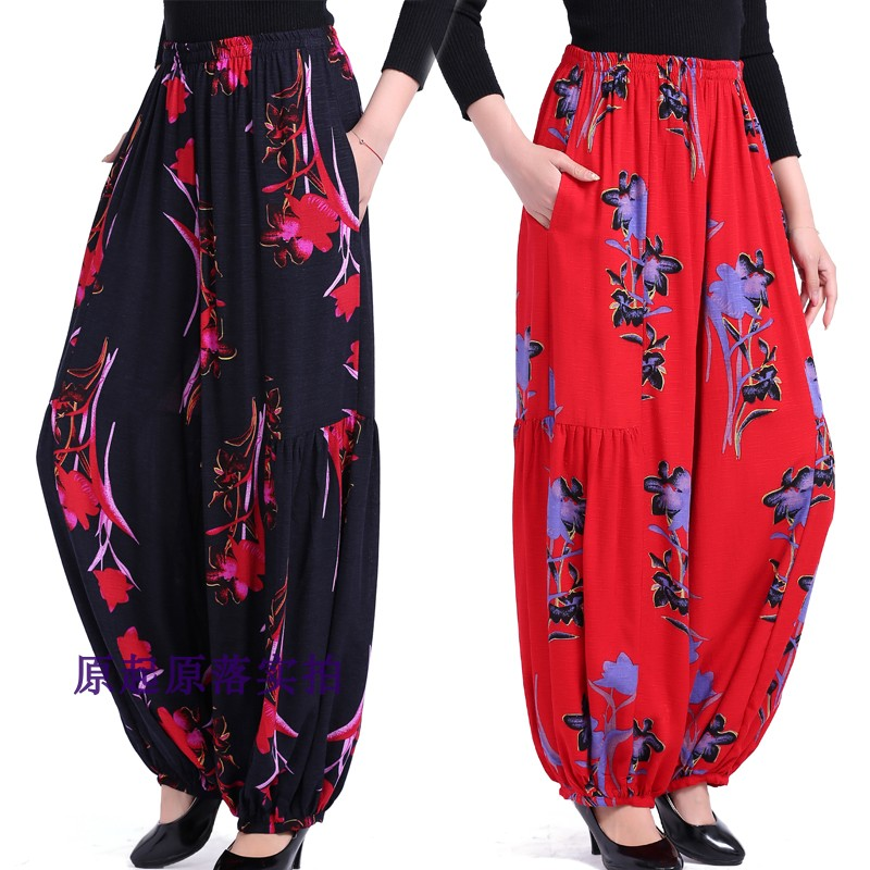 The new women's national wind   pants   dance   pants   printing   pants   fashion cotton and linen   wide     leg     pants   trousers