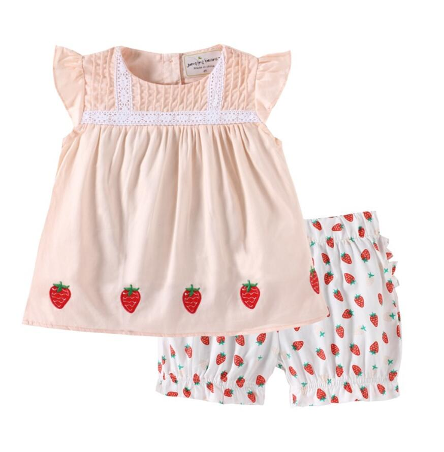 6sets/lot Toddler boys clothing sets kids clothes (shirt +shorts) strawberry Girls kids set 2-7T sylvia 587510935995