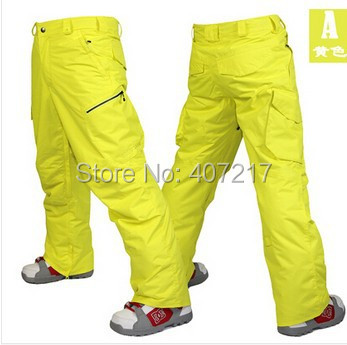 2014 mens yellow ski pants blue snowboarding pants for men green sports snow pants black waterproof 10K windproof free ship сумка green g 14053 2014