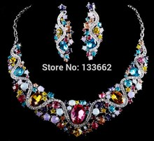 India style bridal Wedding Jewelry Sets spring multi color Rhinestone necklace earrings set crystal Women Party Jewelry Gifts