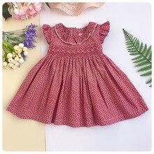 863577f2bbe Infant Flower Printed dresses Girl Vintage Doll Collar Smocked Princess  Dress Newborn Short Sleeves Party Bow