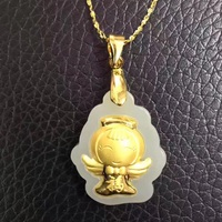 Natural 100% Pure Gold plated Inlaid White HeTian Yu Carved Baby Angel Lucky Pendant Necklace + Certificate Fashion Jewelry
