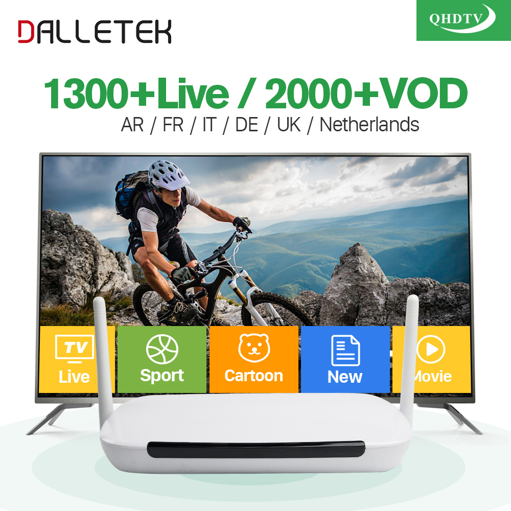 IPTV Arabic Dalletektv Android 6.0 Smart TV Box 1300+ IPTV Europe 1 Year QHDTV Code Subscription Spain Arabic French IP TV Box dalletektv arabic iptv box leadcool android tv box 1 year code iptv subscription channels europe french turkish iptv top box