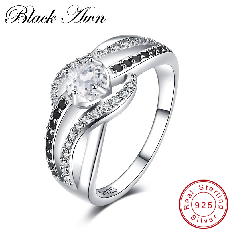 [BLACK AWN] Fine 3.6G Genuine 925 Sterling Silver Jewelry Trendy Engagement Rings for Women Wedding Ring C047