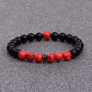 Image 2 - DOUVEI 8 мм черные матовые и красные бусины Yinyang браслеты для женщин модный браслет для мужчин с черными бусинами CZ молитвенные ювелирные изделия AB656