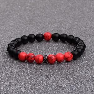 Image 2 - DOUVEI 8MM Black Matt&Red Beads Yinyang Bracelets For Women Trendy Bracelet Men With Black CZ Beads Prayer Jewelry AB656