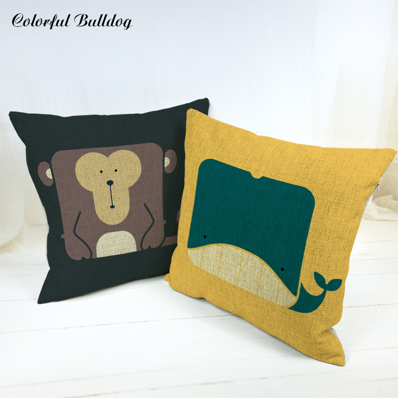 Throw Pillow Covers Geometric Whale Bear Tiger Elephant Panda Pig Penguin Cat Monkey 45*45cm Home Sofa Car Seat Decor Wholesaler