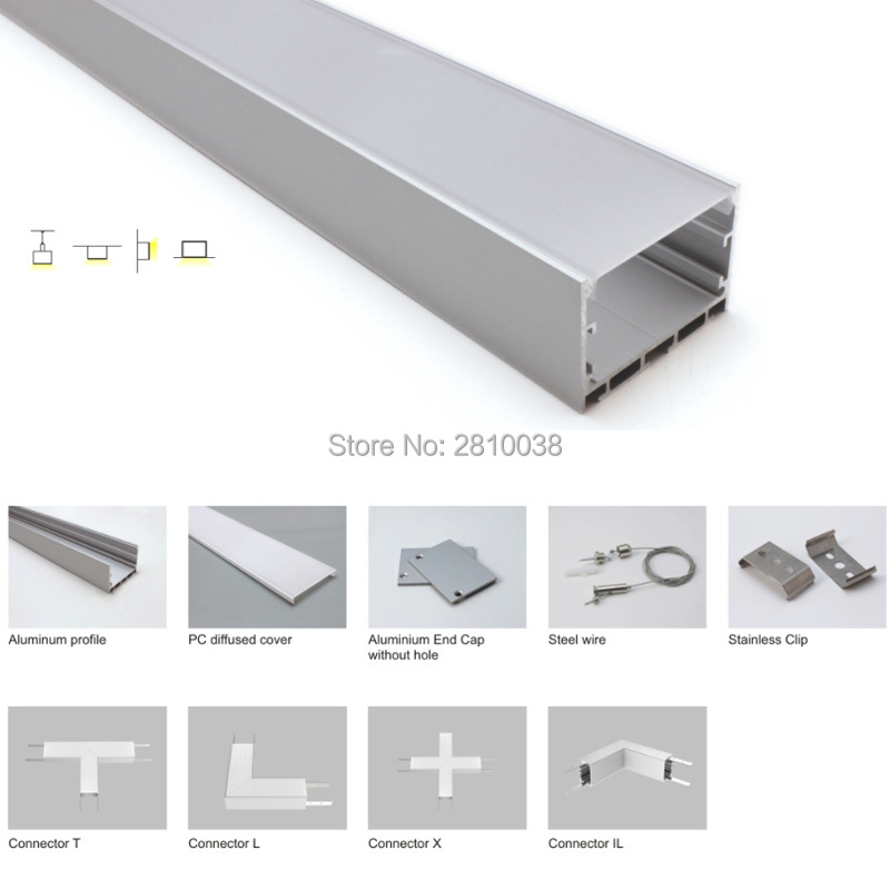 20 X 1M Sets/Lot extruded aluminium profile for led strips and 50x35 U style led alu channels for suspending pendant lamps
