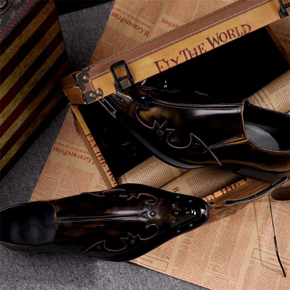 Automne Cuir Mode 46 Véritable En Formale Ch Hommes Oxford Chaussures Richelieus Mariage Glissement Bronze Italien Robe Kwok De Sur qwP0U7